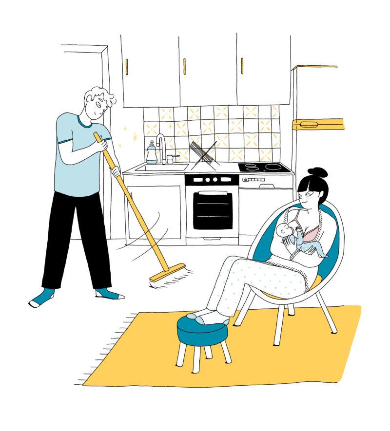 Déléguer les tâches ménagères à papa pendant l'allaitement mpedia.fr