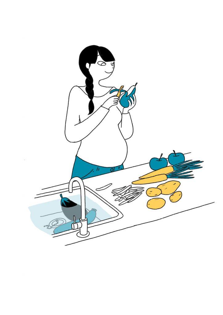 Les bons gestes Santé / Environnement de la grossesse : laver et éplucher les fruits et légumes - mpedia